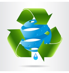 Recycle arrows and abstract blue sphere with water vector image