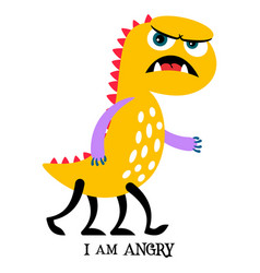 angry yellow monster print design vector image vector image