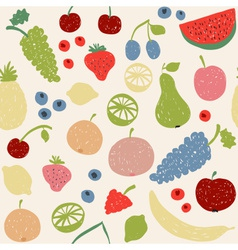 Doodle fruits seamless pattern in retro colors vector image vector image