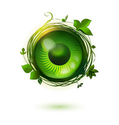 eco friendly technology symbol with open eye vector image