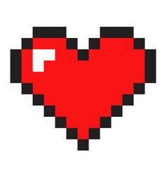 pixel art heart isolated on white background vector image