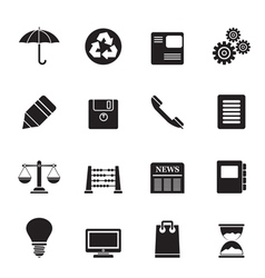 Silhouette Business and Office internet Icons vector image