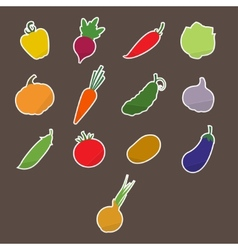 Stickers Silhouettes of Vegetables vector image