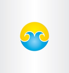 water waves with sun summer icon vector image