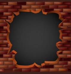 breaking through a brick wall with a hole vector image