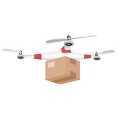 delivery drone with the package isolated on white vector image vector image
