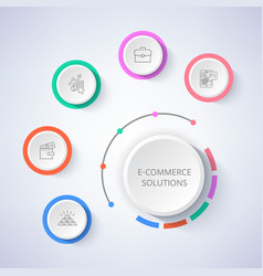E-commerce solutions set of icons money in wallet vector
