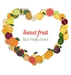Heart with different fruit icons vector image