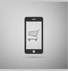 online shopping concept shopping cart smartphone vector image
