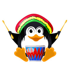 penguin with a drum in a beret the little penguin vector image vector image