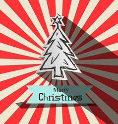Retro Christmas Card witt Paper Cut Tree vector image vector image