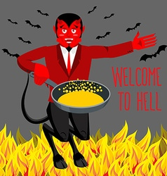 Welcome to Hell Devil holding frying pan for vector image