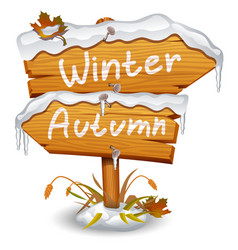 winter wooden arrow icon vector image vector image