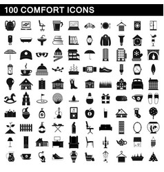 100 comfort icons set simple style vector image