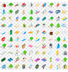 100 playground icons set isometric 3d style vector image