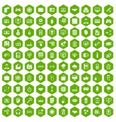 100 web development icons hexagon green vector image