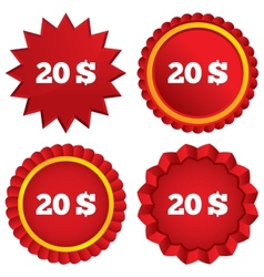 20 Dollars sign icon USD currency symbol vector