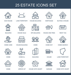 25 estate icons vector