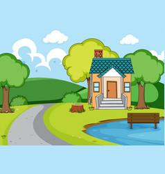 a rural house landscape vector image
