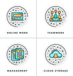 A set four icons on business issues and vector