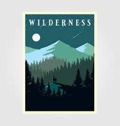Adventure mountain camp poster wilderness design vector