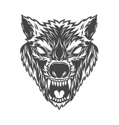 angry wolf head in monochrome style design vector image
