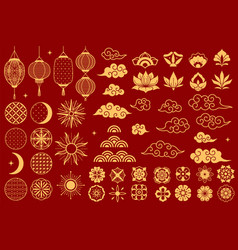 asia elements chinese festive decorative gold vector image