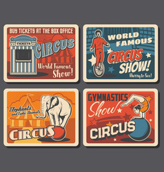 big top circus funfair festival vintage posters vector image