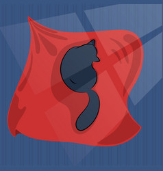 black cat sleep on red blanket cat alone in dark vector image