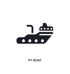 Black pt boat isolated icon simple element from vector