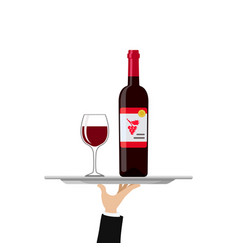 bottle of red wine and glass on tray vector image