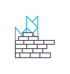 brick layering thin line stroke icon brick vector image