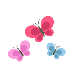 Bright cartoon butterflies isolated vector