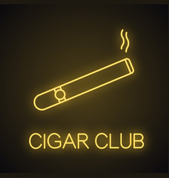 Burning cigar neon light icon vector