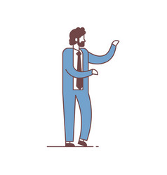 businessman standing pose pointing something vector image