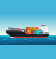 Cargo ship with containers in the ocean vector