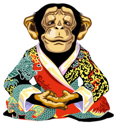 Cartoon chimpanzee wearing red kimono vector