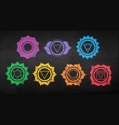 Chakras color chalk drawn set vector