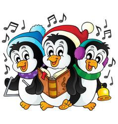 Christmas penguins theme image 1 vector
