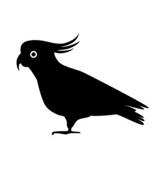 Cockatoo parrot silhouette icon in flat style vector