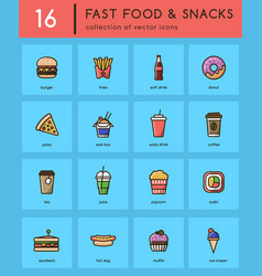 collection of 16 colorful fast food icons vector image