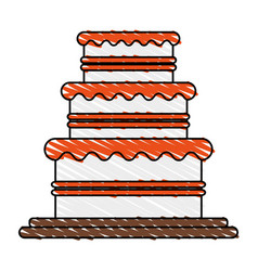 color crayon stripe image wedding cake with cream vector image