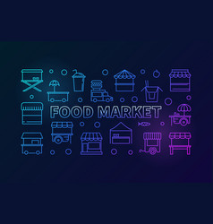 colored food market horizontal line banner vector image