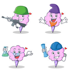 cotton candy character set with army elf professor vector image