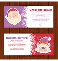 Cute christmas characters greeting cards vector