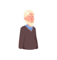 cute smiling avatar old man with white hair vector image