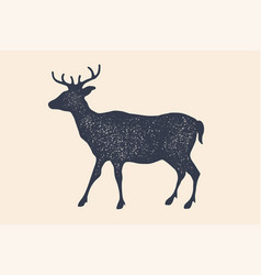 deer silhouette vintage logo retro print vector image