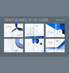 design set of blue abstract double-page brochure vector image