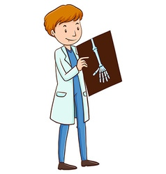 Doctor holding x-ray film vector
