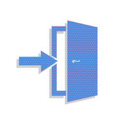 Door exit sign neon blue icon with vector